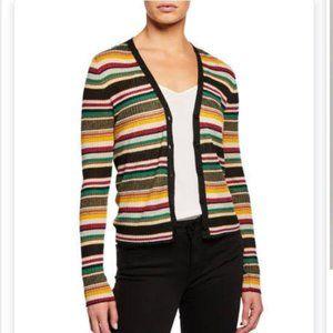 NWT Veronica Beard S Keke Striped Ribbed Cardigan
